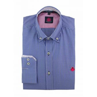 Camisa cuadros vichy azul