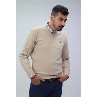 Beige V-neck pullover
