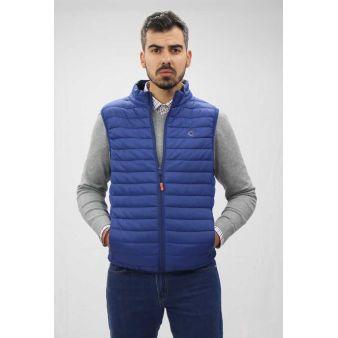 Navy blue sleeveless waistcoat