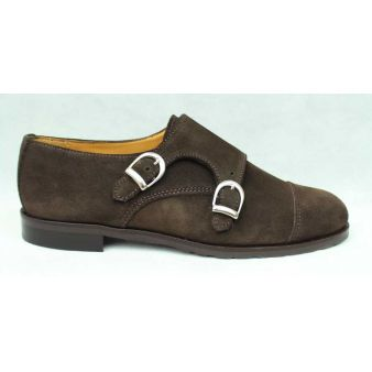 Zapato dos hebillas mujer ante marón