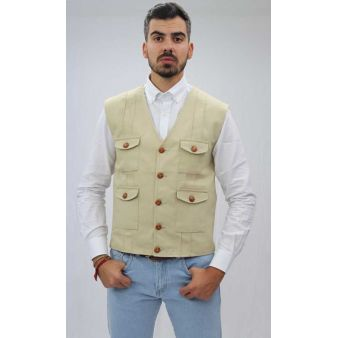 Dunas model beige waistcoat
