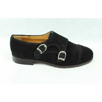 Zapato dos hebillas mujer ante negro