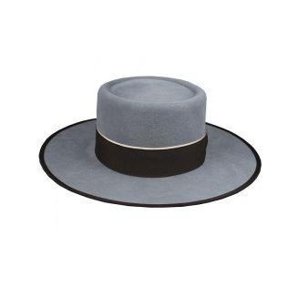 Sombrero garrocha gris cinta marrón