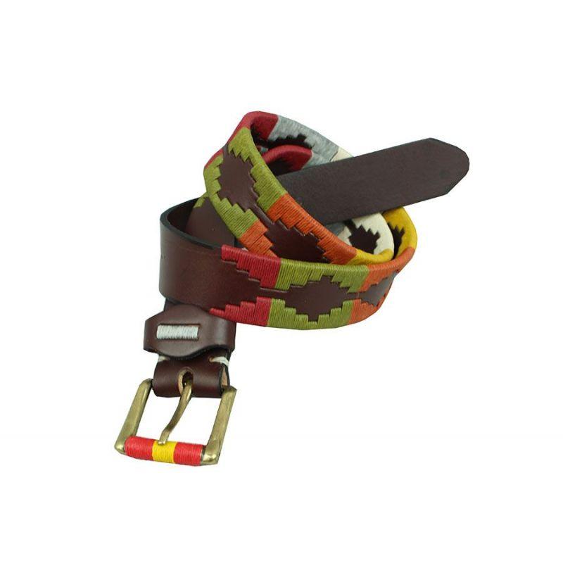 Cinturon marrón bordado verde, burdeos y beig