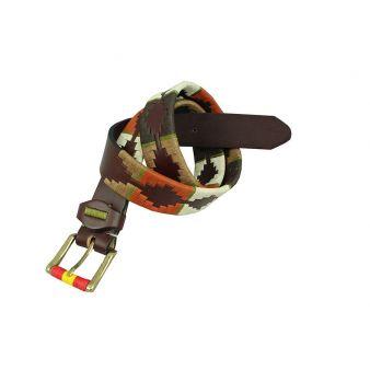 Cinturon marrón bordado beig y naranja