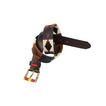 Cinturon marrón bordado camel, azul, beig