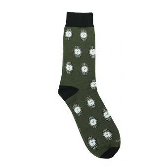 Khaki sock with watch pattern