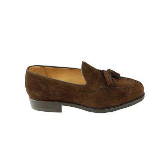 Brown suede tasseled loafers
