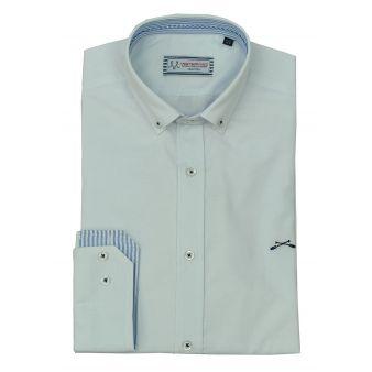 Camisa blanca cuello rayas