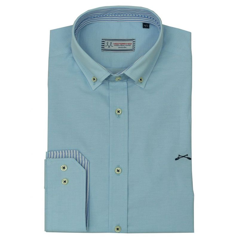 Camisa celeste cuello rayas