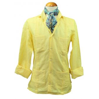 Camisa cubana lino amarilla