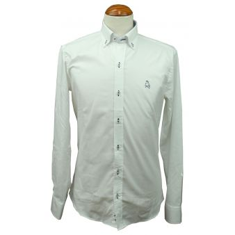 Camisa blanca rayas celeste con bordado