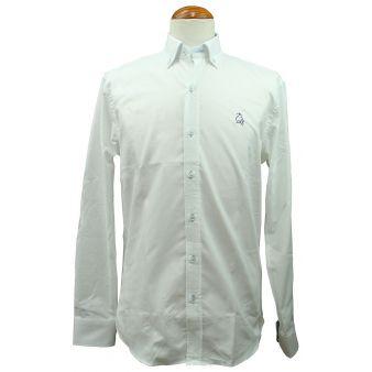 Camisa blanca vichy celeste con bordado