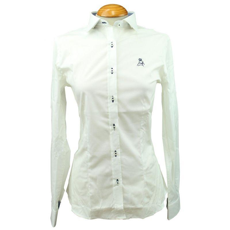 Camisa mujer blanca vichy marino con bordado