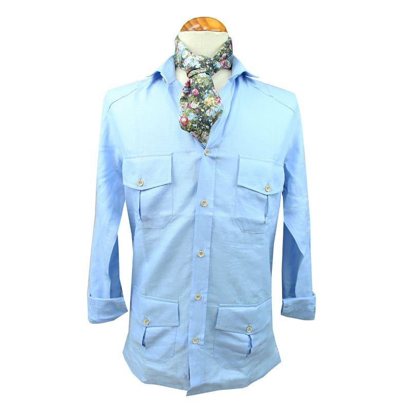 Camisa cubana de caballero, en color blanca. Tejido de lino