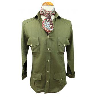 Khaki coloured Cuban shirt