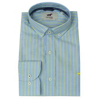 Camisa celeste rayas amarillas