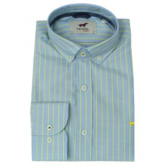 Sky blue shirt with yellow...