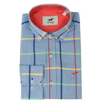Blue shirt with coloured lines