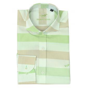 Camisa rayas verde y beige