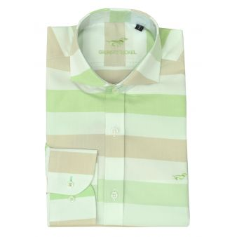Green and beige striped shirt