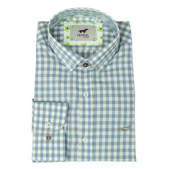 Camisa cuadros beige