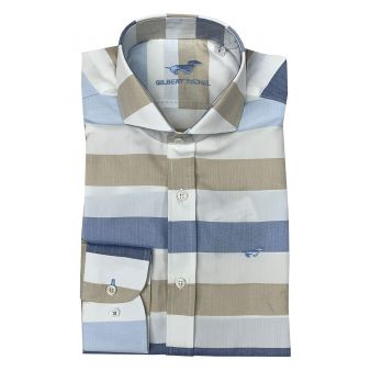 Camisa rayas celeste y beige