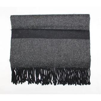 Grey-black woollen footrest...