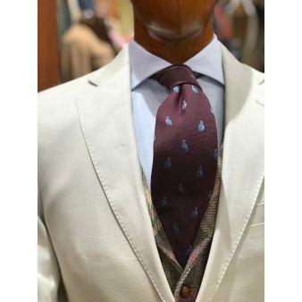 Corbata lana perdiz burdeos