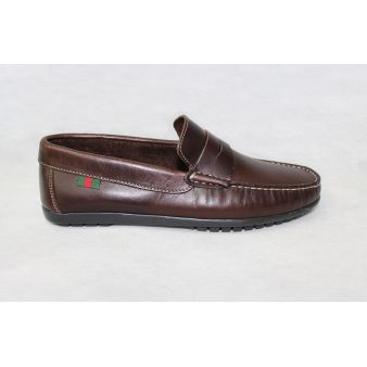 Leather moccasin with shoe...