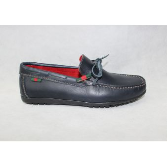 Navy bow moccasin