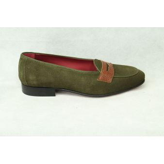 Hunting green suede loafer...