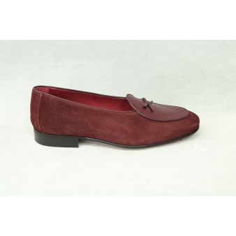Burgundy suede bow loafer