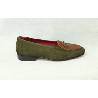 Hunting green suede bow loafer