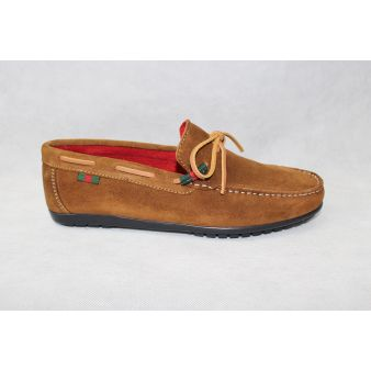 Suede leather bow moccasin