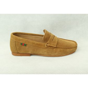 Beige suede moccasin with...
