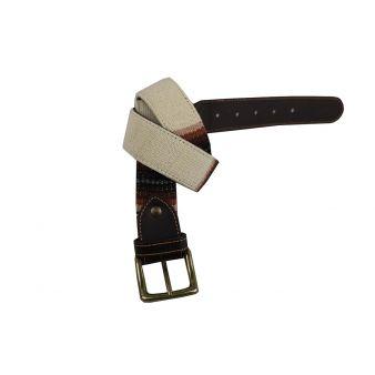 Cinturon beig adornos marrones