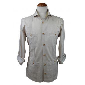 Camisa cubana jareta beige