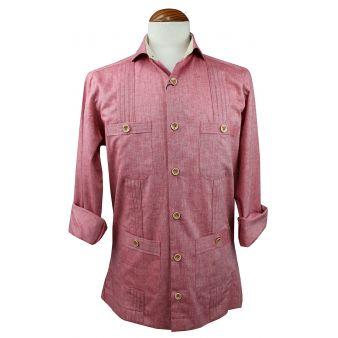 Camisa cubana jareta coral