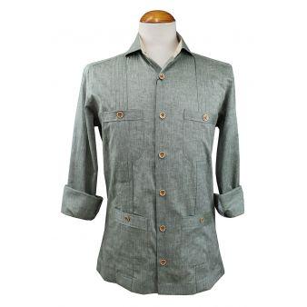 Green Cuban safari style shirt