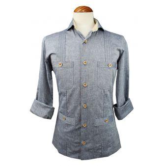 Camisa cubana jareta azul