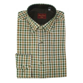 Green and camel checked shirt