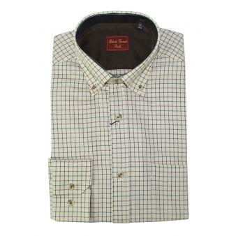 Ecru and green checked shirt