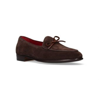 Brown split bow suede moccasin