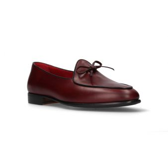 Burgundy bow moccasin