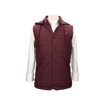 Burgundy sleeveless waistcoat