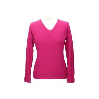 Fuchsia V-neck pullover