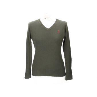 Khaki V-neck pullover