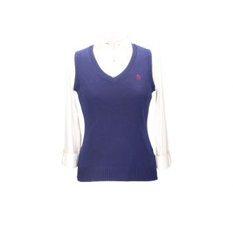 Navy blue sleeveless pullover