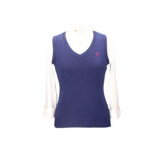 Navy blue sleeveless pullover